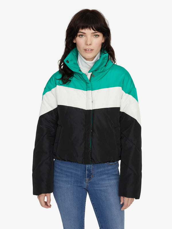 Ski Club Puffer Jacket Emerald Black Stripe
