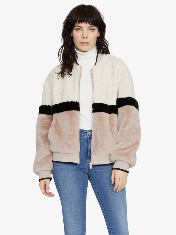 Blockparty Faux Fur Bomber Jacket Moonstone / Stone