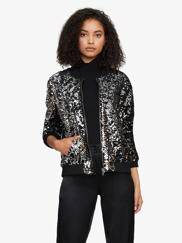 Disco Bomber Jacket Black And Silver