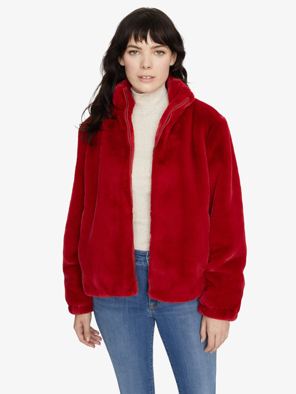 Sami Faux Fur Jacket Party Red