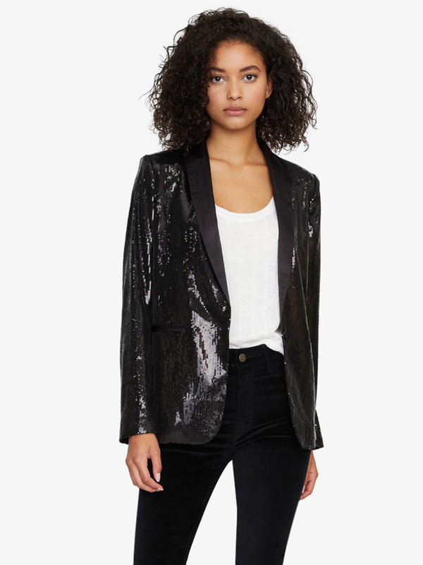 Shine On Blazer Black Sequin