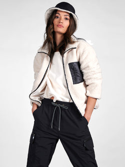 Sherpa Zip Up Jacket Light Latte - Light Latte / XXS -