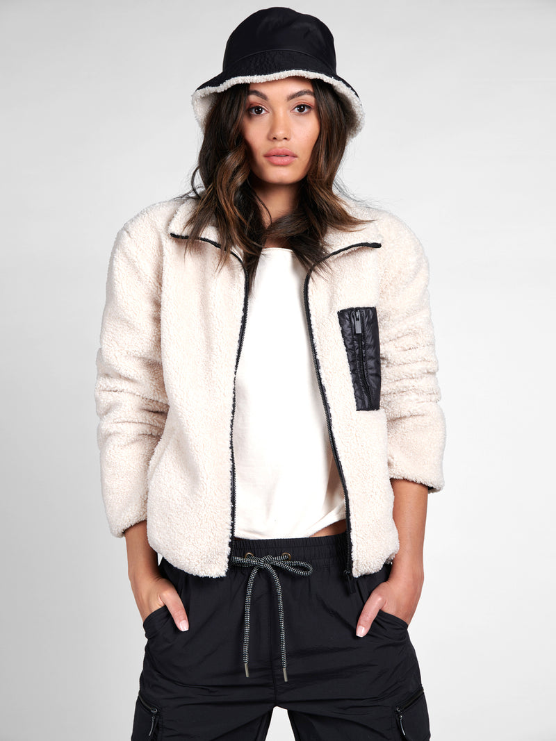 Sherpa Zip Up Jacket Light Latte - Jacket