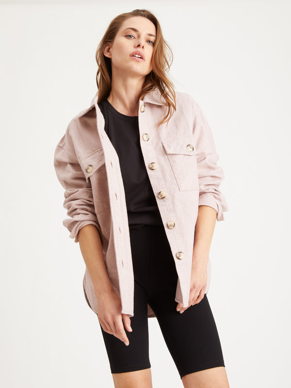 The Shacket Pink Herringbone - Jacket