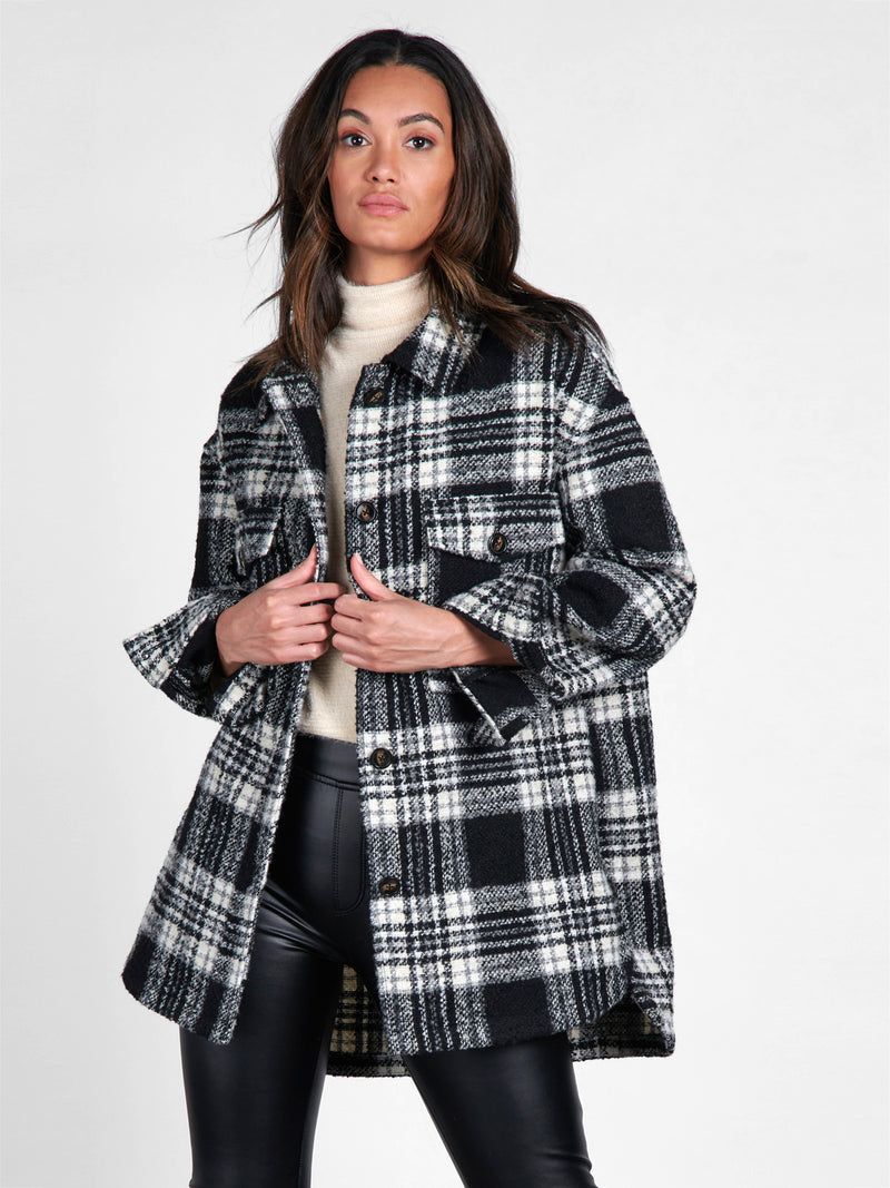 Midi Shacket Winter Latte Plaid - Jacket