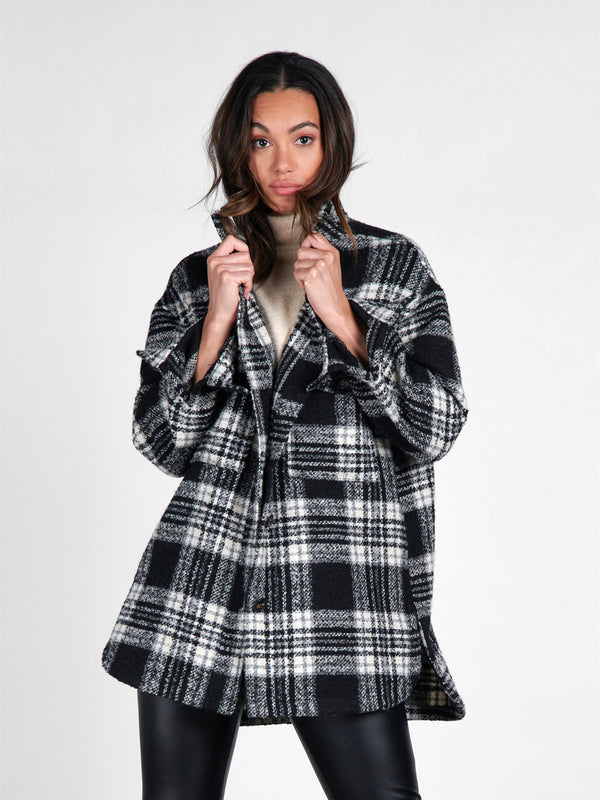 Midi Shacket Winter Latte Plaid