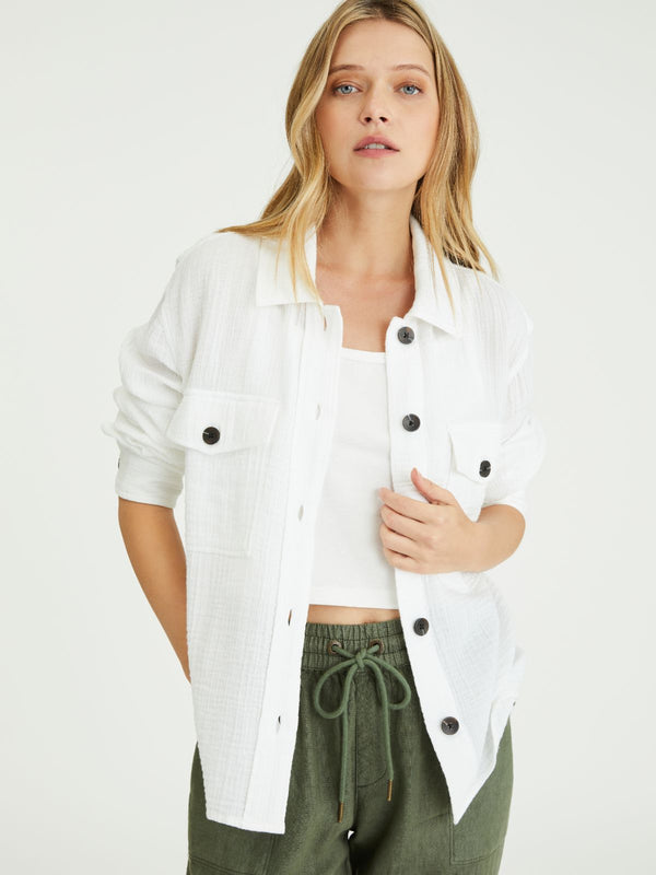 Cropped Shirt Jacket White