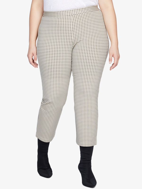 Carnaby Kick Crop Legging Beige Check Inclusive Collection
