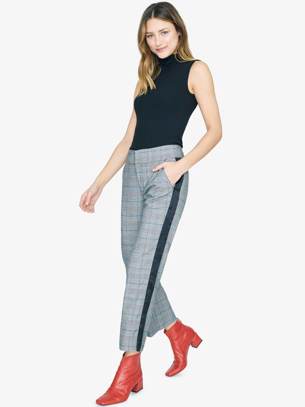 Landon Kick Crop Trouser Sheffield Plaid With Black Stripe