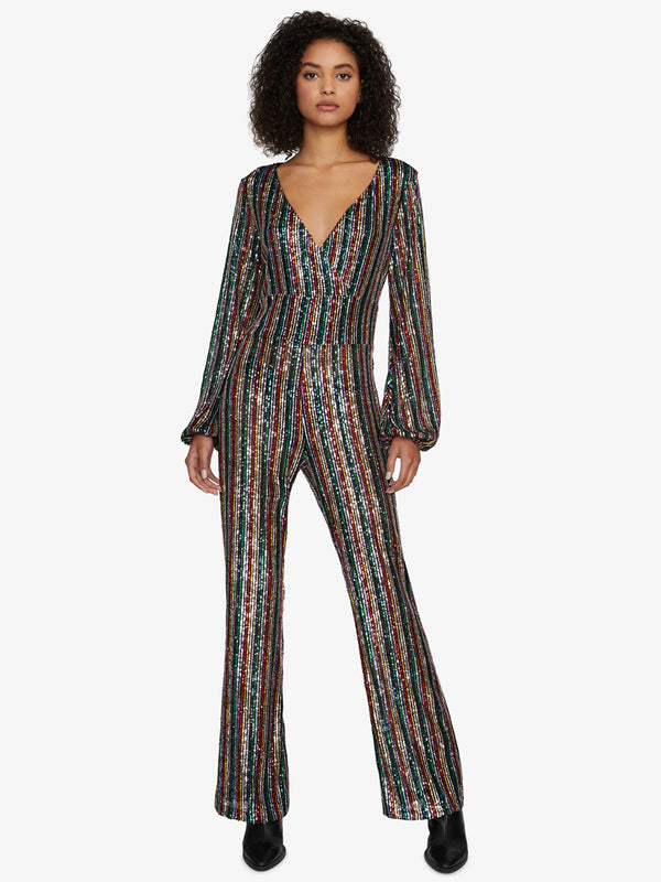 Shine Bright Faux Wrap Jumpsuit Rainbow Sequin
