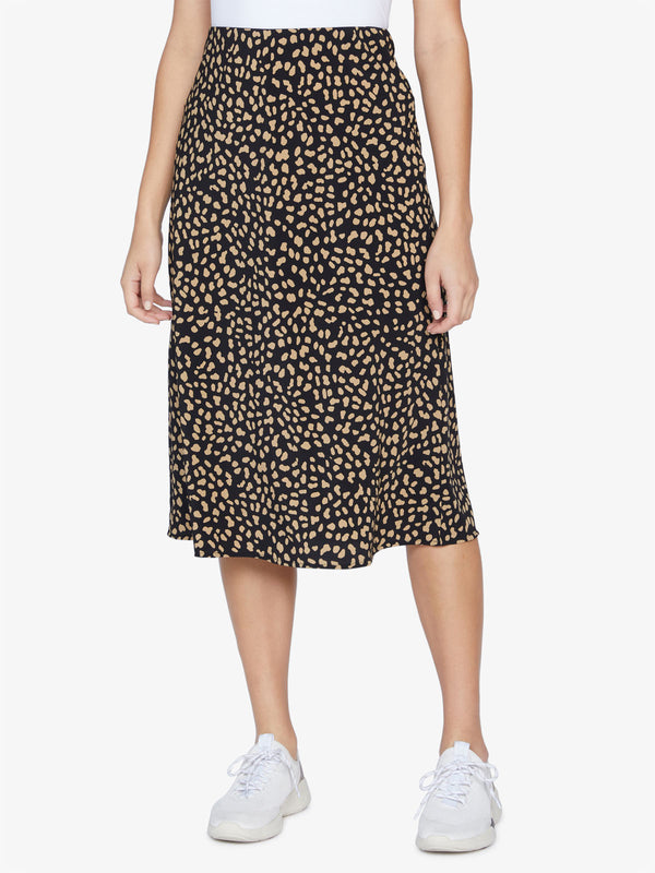 Everyday Black Modern Spots Midi Skirt