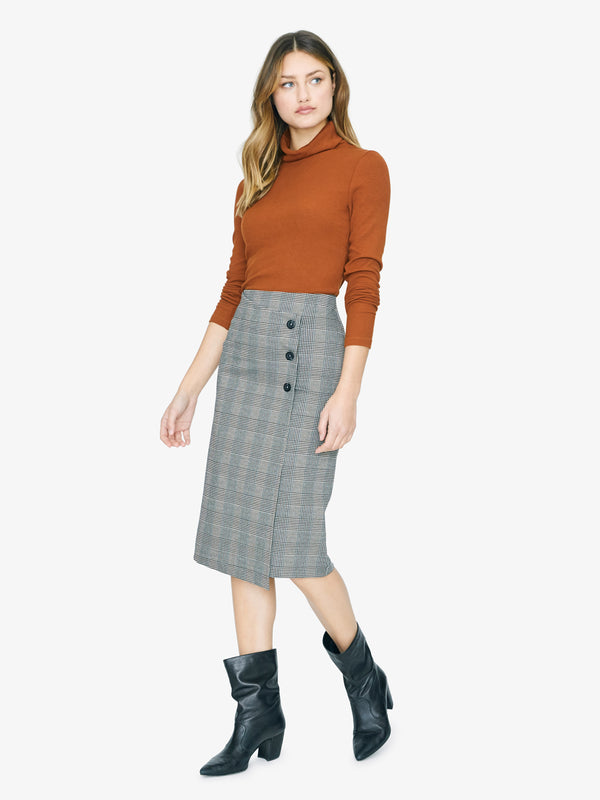 Reality Check Pencil Skirt Earthstone Check