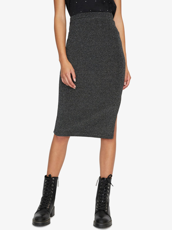 Metallic Pencil Skirt Silver And Black Stripe