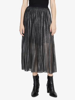 Timeless Pleated Midi Skirt Black Sparkle