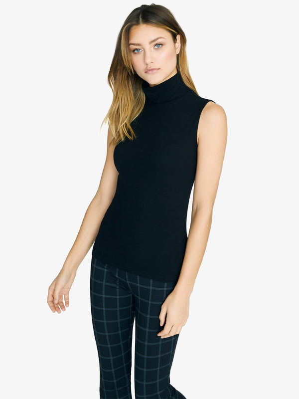 Essential Sleeveless Mock Neck Top Black