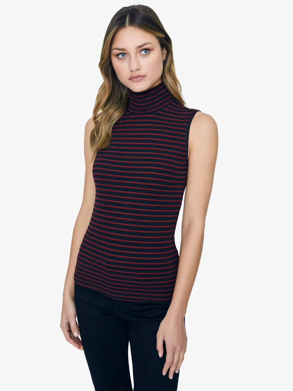 Essential Sleeveless Mock Neck Top Red Jasper Stripe