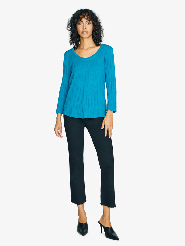 3/4 Sleeve Ribbed Ruby Scoop Tee Apatite