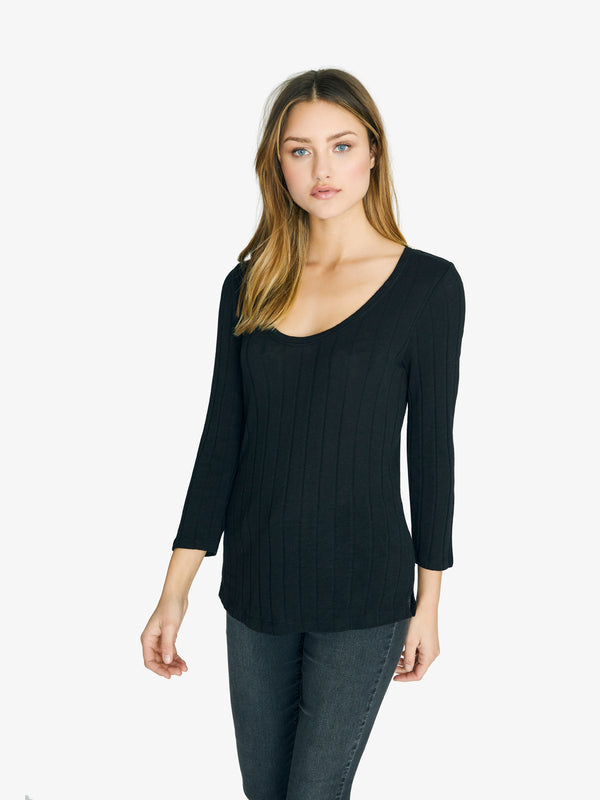 3/4 Sleeve Ribbed Ruby Scoop Tee Black
