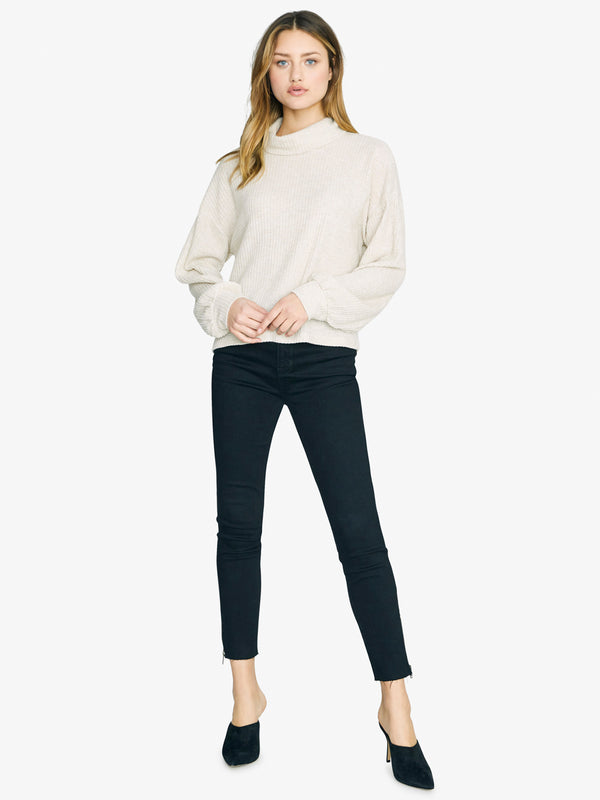 Klara Waffle Turtleneck Heather Moonstone