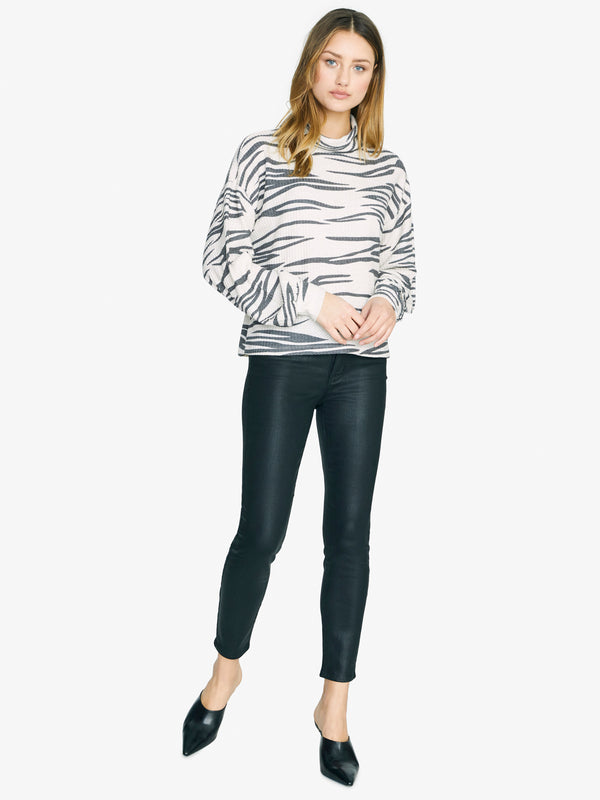 Klara Waffle Turtleneck Moonstone with Zebra