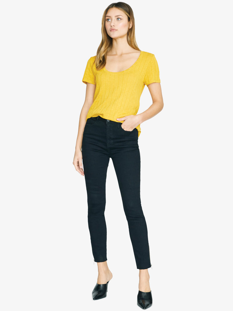 Ribbed Ruby Scoop Tee Citrine