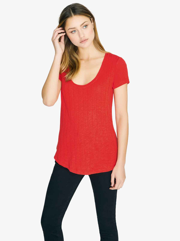 Ribbed Ruby Scoop Tee Fiery Ruby