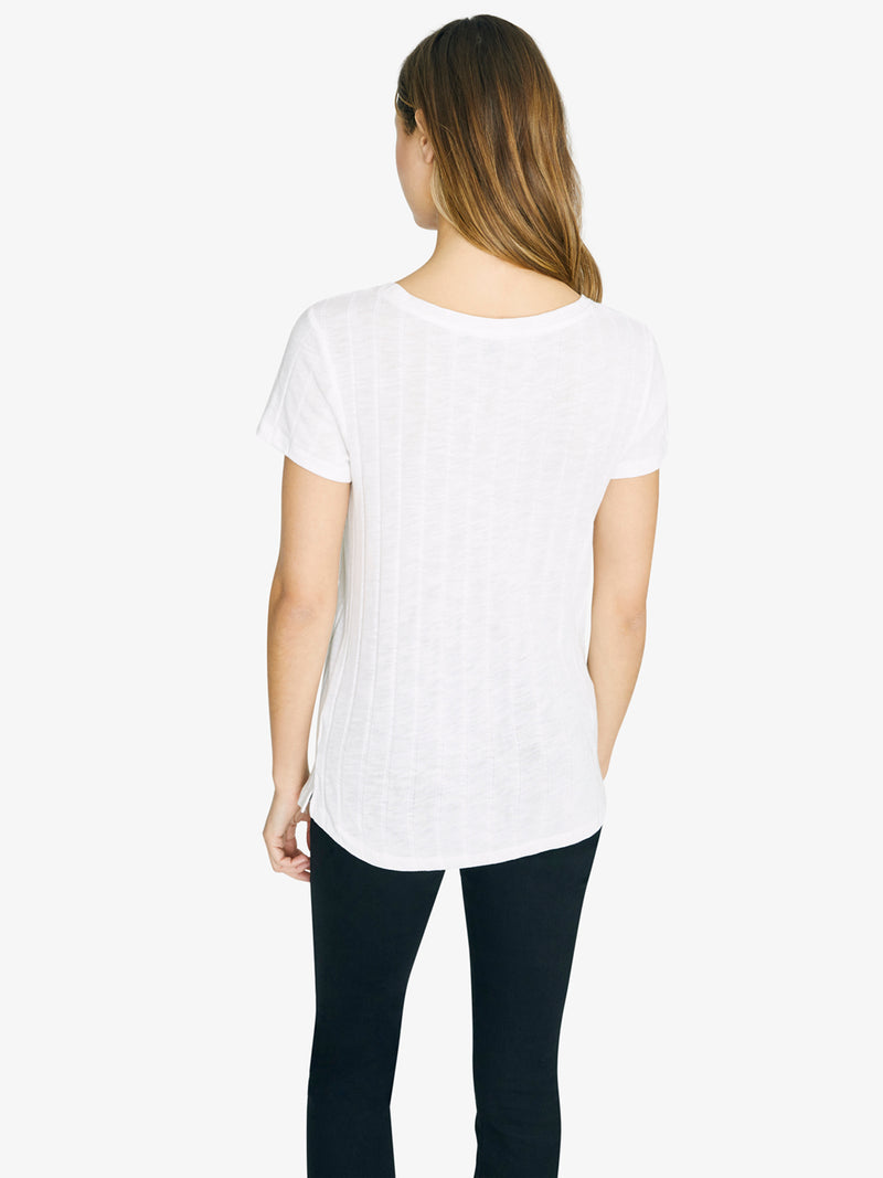 Ribbed Ruby Scoop Tee Opal