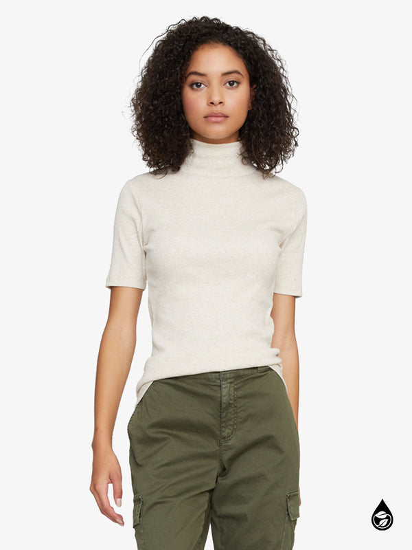 Essential Short Sleeve Mock Neck Top Heather Stone
