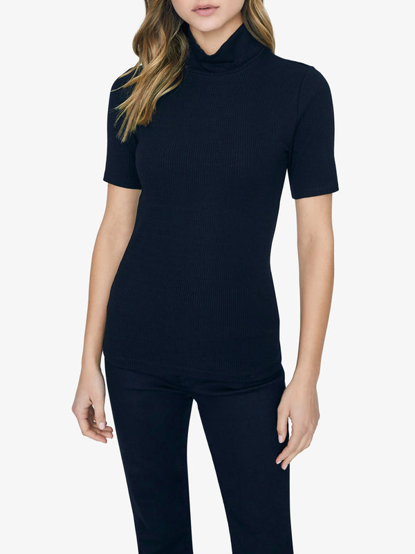 Essential Short Sleeve Mock Neck Top Black