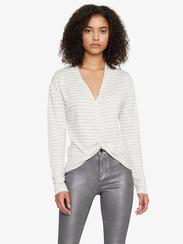 Knot Interested Top Heather Parchment with Metallica Stripe