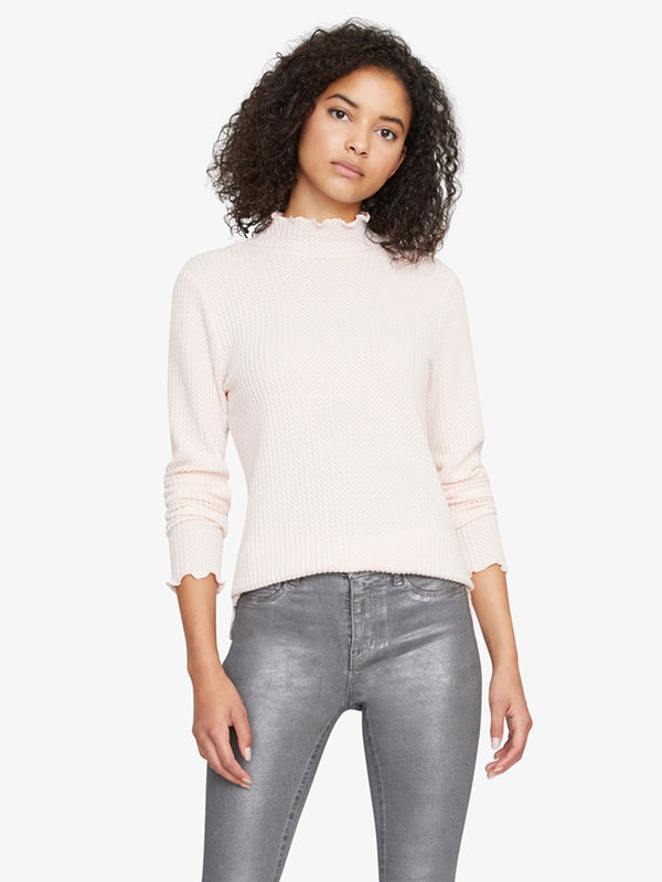 Pearla Waffle Mock Neck Top Light Pearl