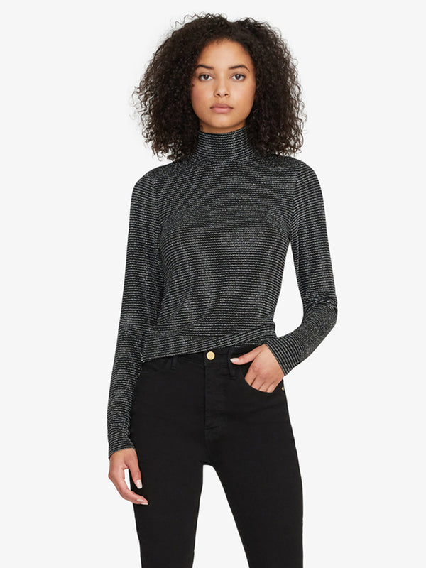 Essential Turtleneck Metallic Silver and Black Stripe