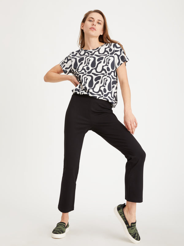 The Perfect Tee Black And White Geo - Knit Top