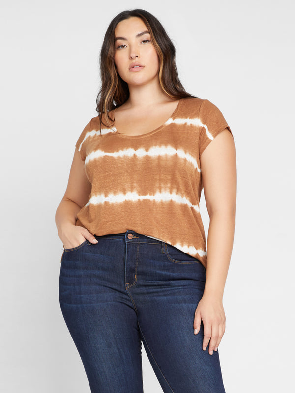Alma Scoop Tee White/Bronzer Tie Dye Stripe Inclusive Collection