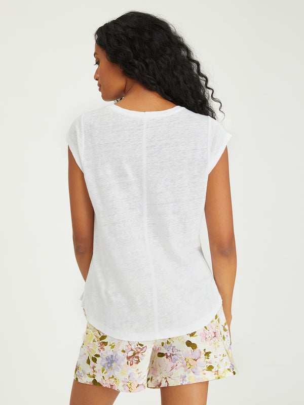 Alma Scoop Tee White Jasmine - Knit Top