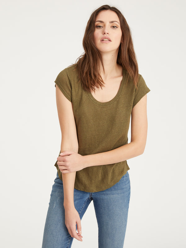 Alma Scoop Tee Fatigue - Fatigue / XS - Knit Top