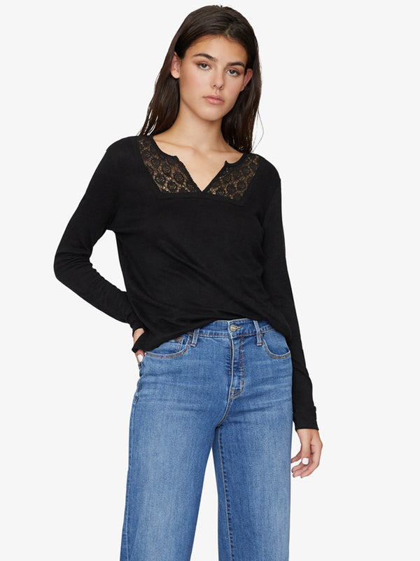 Lora Crochet Tee Black