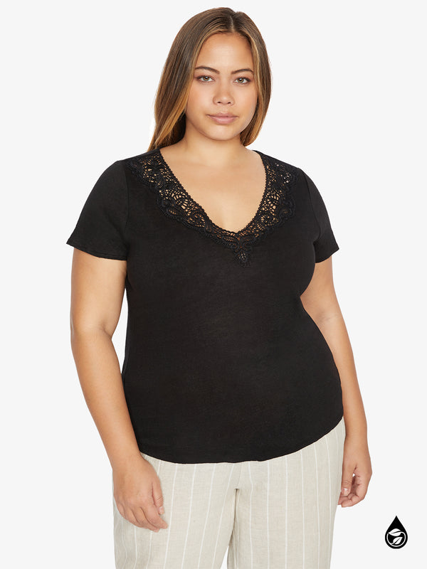 Virginie Lace Tee Black Inclusive Collection