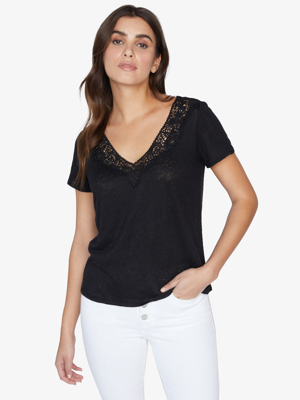 Virginie Lace Tee Black
