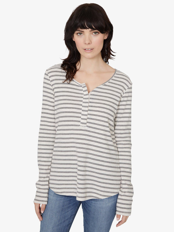 Alma Snap Front Tee Black Stripe