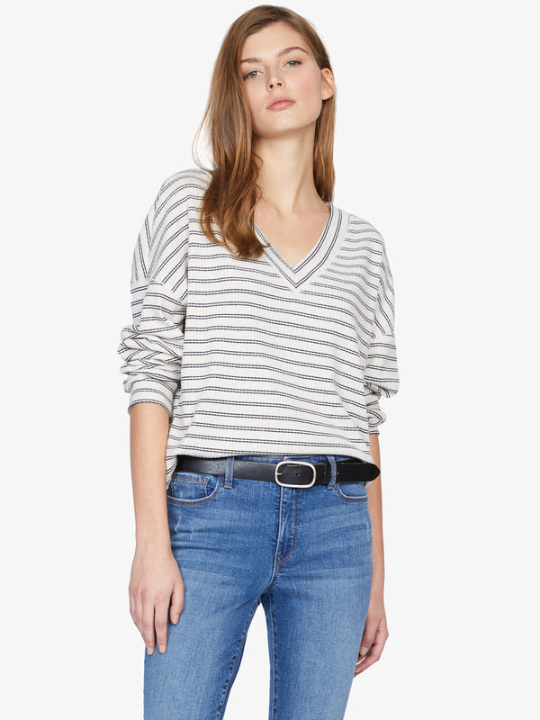 Eryka Striped V-Neck Tee Black Stripe