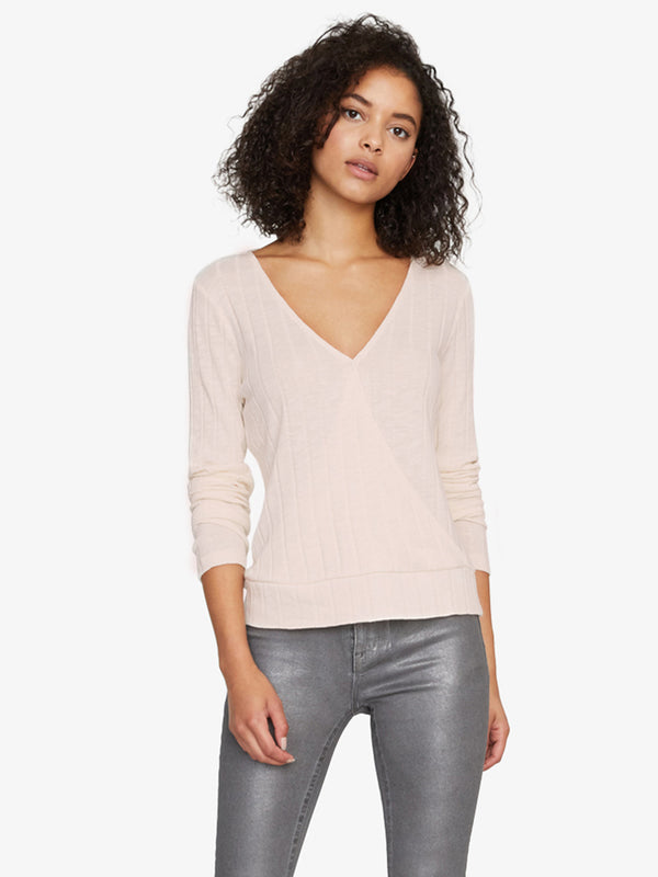 Polina Ribbed Wrap Tee Light Pearl