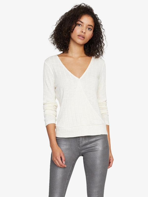 Polina Ribbed Wrap Tee Moonstone