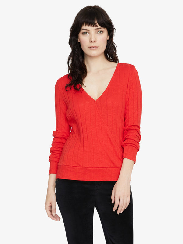 Polina Ribbed Wrap Tee Party Red