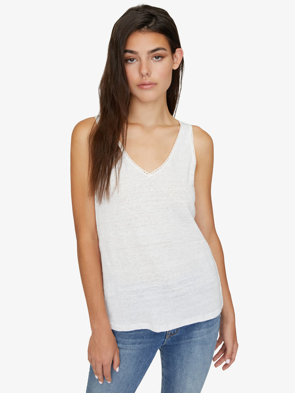 Linn Crochet Mix Tank White Jasmine