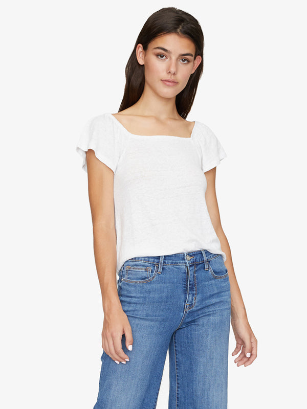 Ali Square Neck Tee White Jasmine