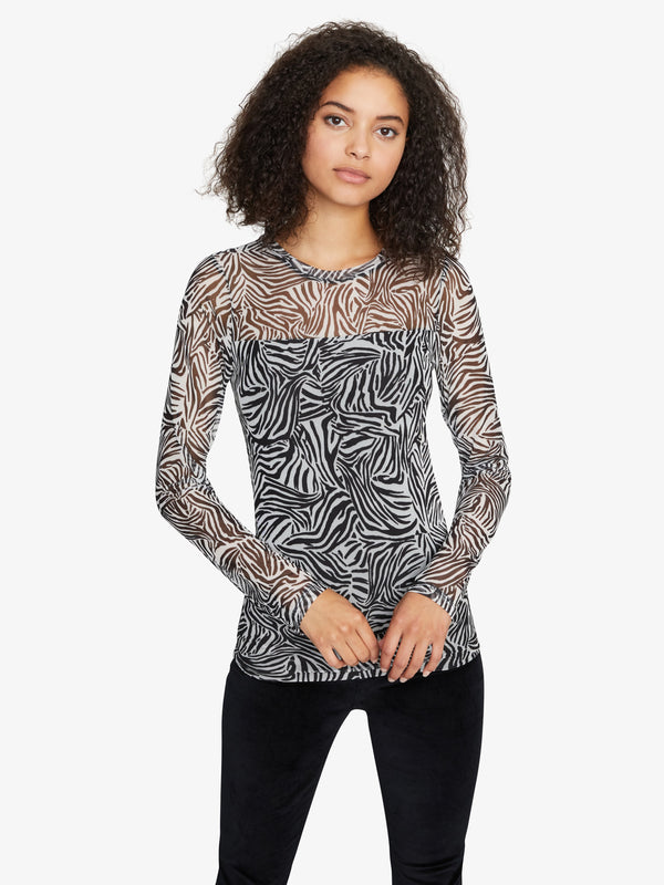 Sheer Indulgence Mesh Top Black Zebra