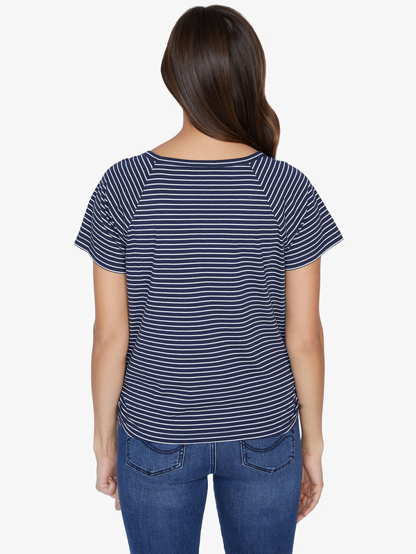 Lou Ruched Tie Tee Navy Vibration Sea Foam Stripe