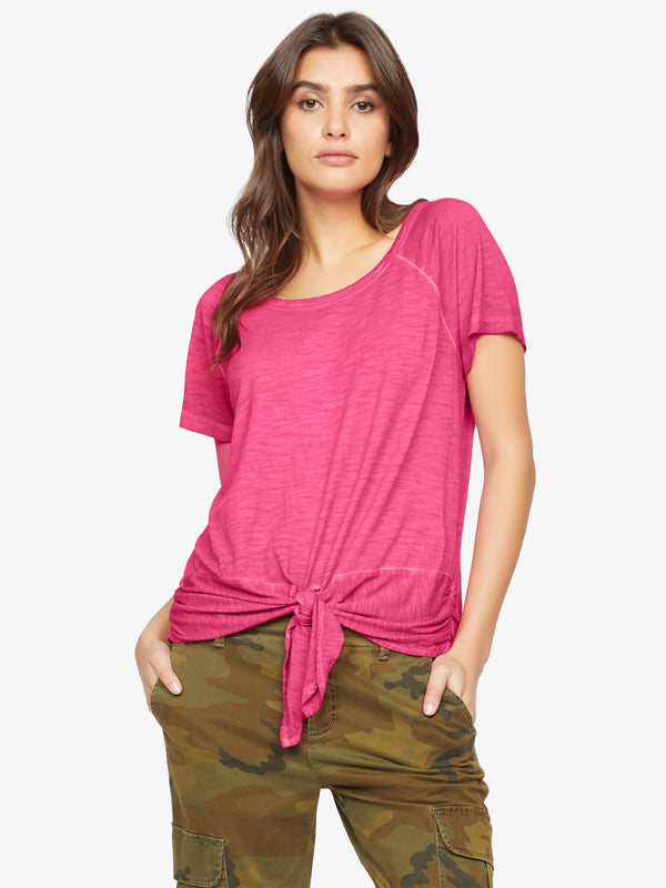 Lou Ruched Tie Tee Hibiscus