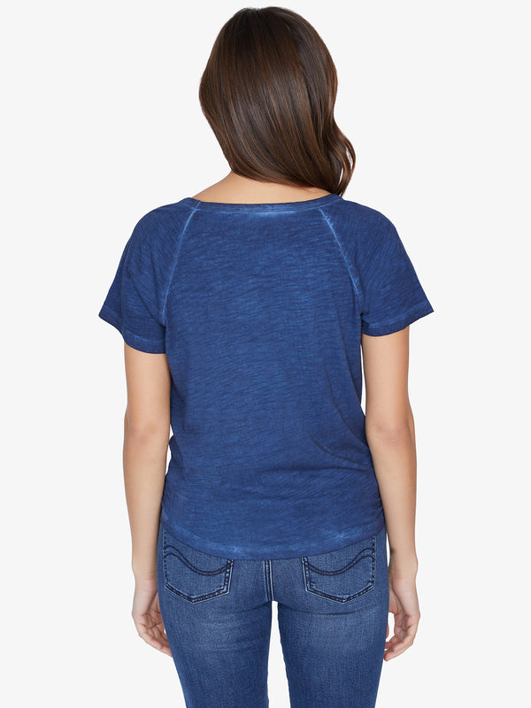 Lou Ruched Tie Tee Navy Vibration